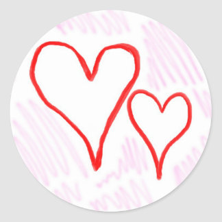 Diseño rojo, amor o tarjeta del día de San Pegatina Redonda