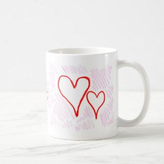 Diseño rojo, amor o tarjeta del día de San Taza Básica Blanca