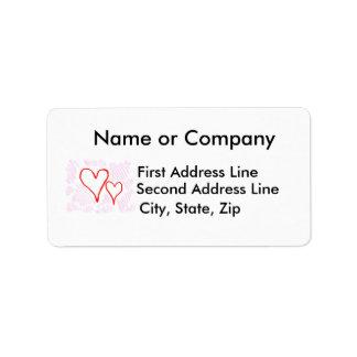 Diseño rojo, amor o tarjeta del día de San Valentí Etiqueta De Dirección