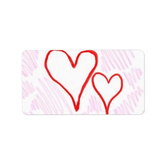 Diseño rojo, amor o tarjeta del día de San Valentí Etiquetas De Dirección
