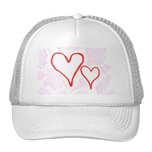 Diseño rojo, amor o tarjeta del día de San Valentí Gorras De Camionero