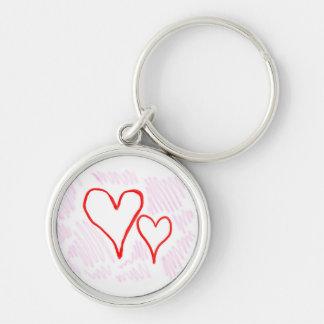 Diseño rojo, amor o tarjeta del día de San Valentí Llavero Redondo Plateado