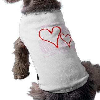 Diseño rojo, amor o tarjeta del día de San Valentí Playera Sin Mangas Para Perro