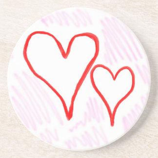 Diseño rojo, amor o tarjeta del día de San Valentí Posavasos Cerveza