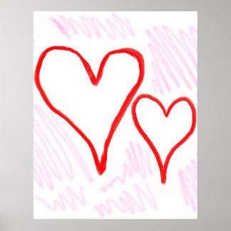 Diseño rojo, amor o tarjeta del día de San Valentí Póster