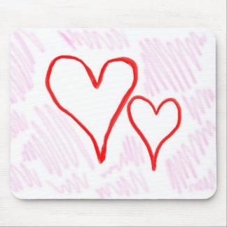 Diseño rojo, amor o tarjeta del día de San Valentí Tapetes De Ratones