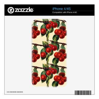 Diseño rojo antiguo del papel pintado de la fruta  calcomanías para iPhone 4S