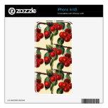 Diseño rojo antiguo del papel pintado de la fruta  skins para eliPhone 4S