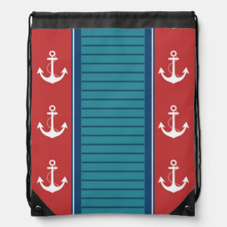 Diseño rojo blanco azul náutico de la raya mochilas