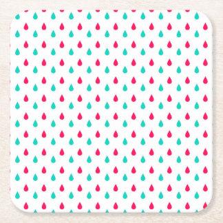 Diseño rojo, blanco, y azul de las gotas de agua posavasos de cartón cuadrado