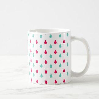Diseño rojo, blanco, y azul de las gotas de agua taza de café