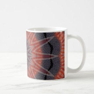 Diseño rojo, blanco y azul del modelo del fractal taza de café