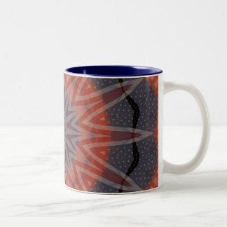 Diseño rojo, blanco y azul del modelo del fractal taza de café de dos colores