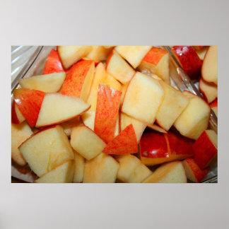 diseño rojo cortado de la comida de la manzana de posters