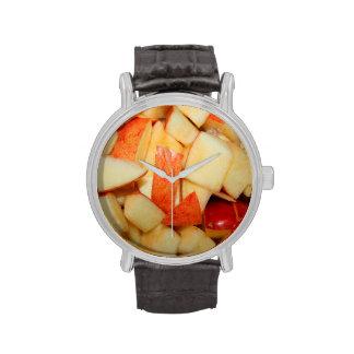 diseño rojo cortado de la comida de la manzana de relojes