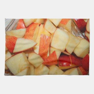 diseño rojo cortado de la comida de la manzana de toalla de mano