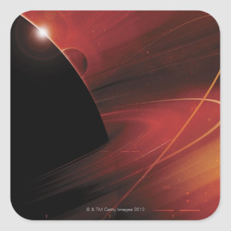 Diseño rojo de Digitaces del planeta Calcomanías Cuadradas