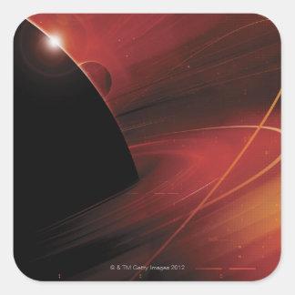 Diseño rojo de Digitaces del planeta Pegatina Cuadrada