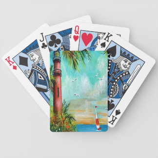 Diseño rojo de la casa ligera baraja de cartas