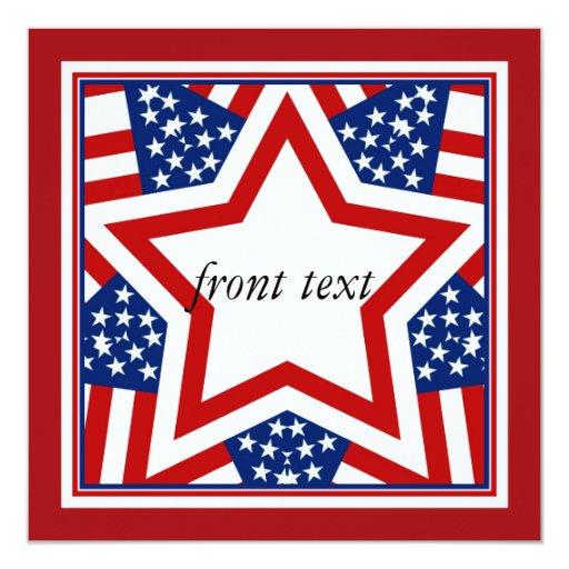"""Diseño rojo de la estrella blanca y azul para invitación 5.25"""" x 5.25"""""""
