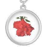 Diseño rojo de la fotografía de la flor del hibisc pendientes personalizados