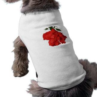 Diseño rojo de la fotografía de la flor del hibisc playera sin mangas para perro