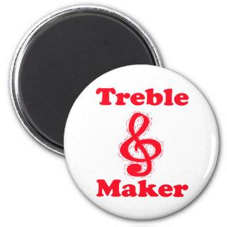 diseño rojo de la música del clef agudo del fabric imán redondo 5 cm