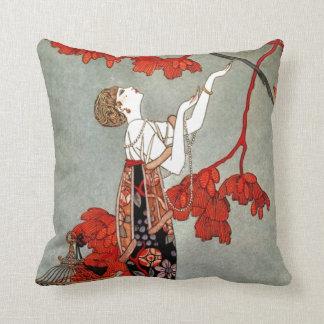 Diseño rojo de la señora art déco cojín