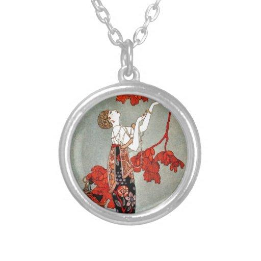 Diseño rojo de la señora art déco pendientes personalizados