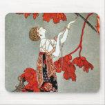 Diseño rojo de la señora art déco tapete de raton