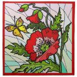 Diseño rojo de la servilleta de la amapola