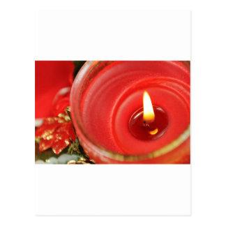 Diseño rojo de la vela del navidad postales