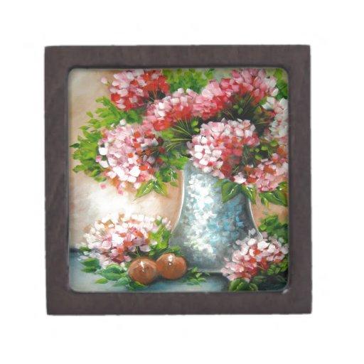 Diseño rojo de los Hydrangeas Caja De Recuerdo De Calidad