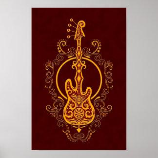 Diseño rojo de oro complejo de la guitarra baja póster