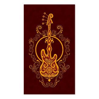Diseño rojo de oro complejo de la guitarra baja tarjeta de negocio