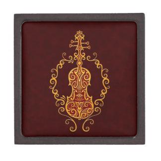 Diseño rojo de oro complejo del violín caja de recuerdo de calidad