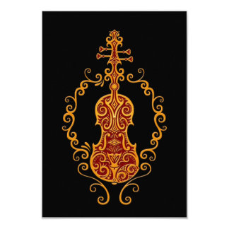 Diseño rojo de oro complejo del violín en negro comunicados