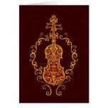 Diseño rojo de oro complejo del violín tarjetón