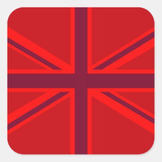 Diseño rojo de Union Jack del acento Pegatina Cuadrada