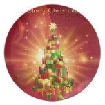 Diseño rojo del árbol del regalo de las Felices Na Plato De Comida