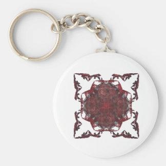 Diseño rojo del arte del fractal llavero redondo tipo pin