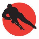 diseño rojo del círculo de la silueta del hockey s esculturas fotograficas
