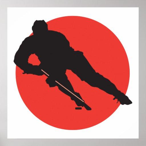 diseño rojo del círculo de la silueta del hockey s impresiones