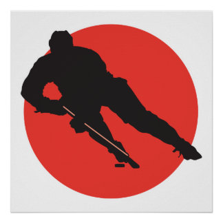 diseño rojo del círculo de la silueta del hockey s póster