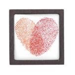 Diseño rojo del corazón de la huella dactilar cajas de regalo de calidad