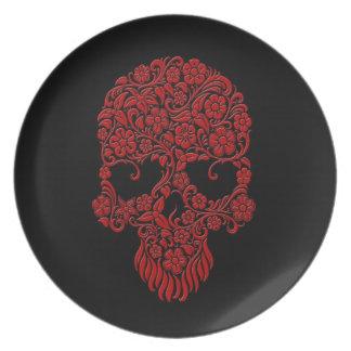 Diseño rojo del cráneo de las flores y de las vide platos para fiestas