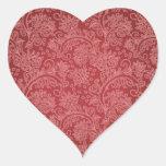 Diseño rojo del damasco de Paisley del vintage Pegatina En Forma De Corazón
