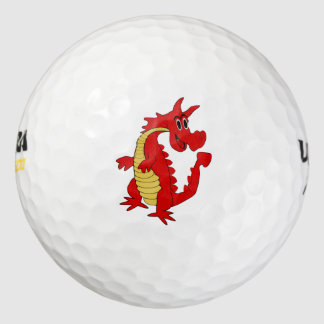 Diseño rojo del dragón pack de pelotas de golf