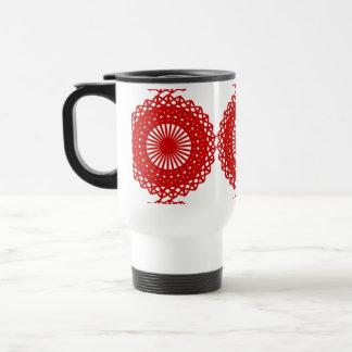 Diseño rojo del modelo del cordón taza de café