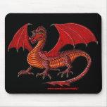 Diseño rojo del mousepad del dragón tapete de ratón